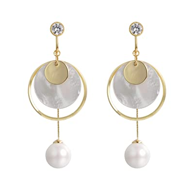 Yoursfs Ball/Faux Pearls Dangle Clip on Earrings