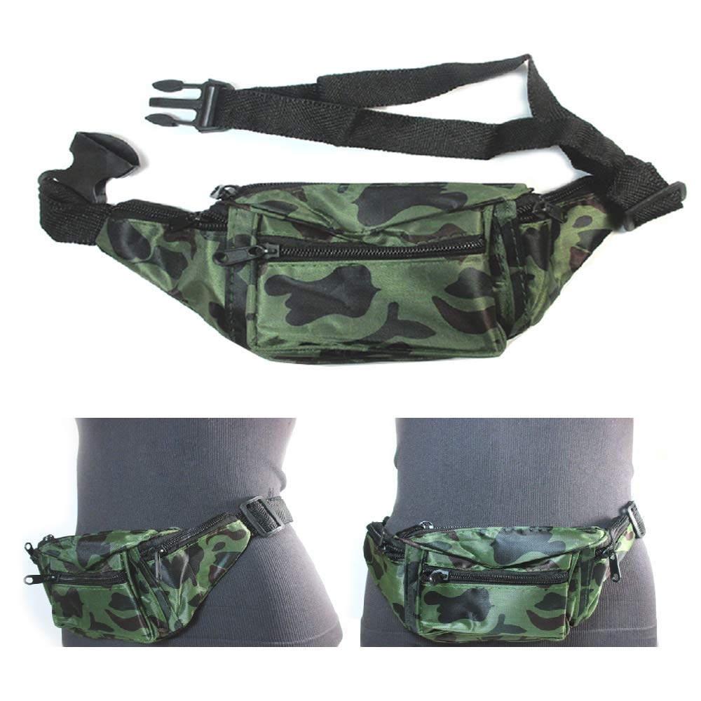 9X Fanny Pack Waist Pouch Adjustable Travel Utility Bag Belt Hip 3 Pocket Sports
