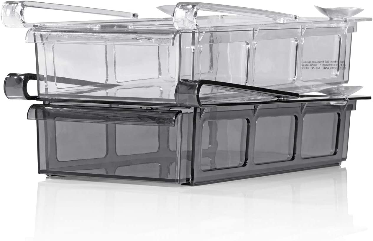GOURMETmaxx Klemm-Schublade XXL f/ür K/ühlschrank 2er-Set Schublade Aufbewahrungsbox K/ühlschrankbox Schublade Aufbewahrungskiste Gem/üsefach K/ühlfach Gem/üseschale Fach Zusatzfach schwarz//wei/ß