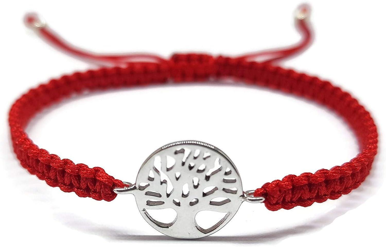 MYSTIC JEWELS by Dalia - Pulsera 925 Plata de Ley - arbol de la Vida - en macrome Hilo Rojo - Ajustable - para Regalar