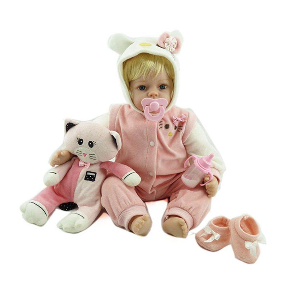 Decdeal NPK 19 Pulgadas Muñeca Bebé Reborn Baby con Gatito Regalo Juguete para Bebé