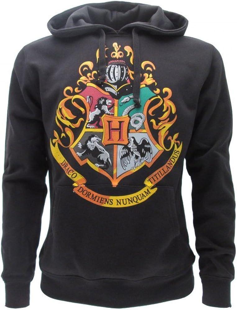 Harry Potter Sudadera con Capucha Hoodie Simbolo de Colegio DE Hogwarts Simbolo 4 Casas - 100% Oficial Warner Bros (M Medium)
