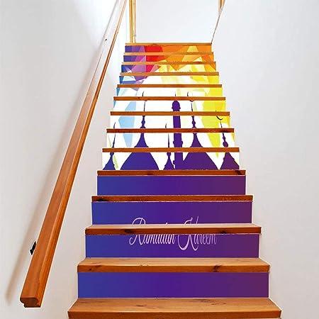 Etiquetas engomadas de la escalera, 13 piezas decoración de vacaciones calcomanías etiquetas engomadas de la escalera escaleras creativas pegatinas de pared Art Deco murales murales pared de tela 18 *: Amazon.es: Hogar