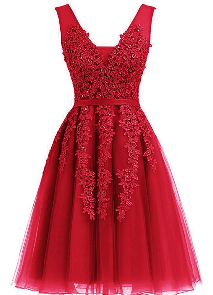 Vickyben Women's Short A-line Lace Applique Tulle Prom Dress Evening Gown Bridesmaid Dress Cocktail Dress Knee long