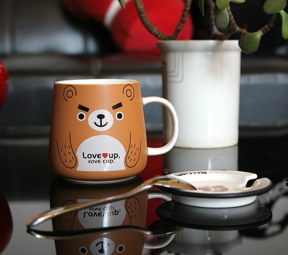 UPSTYLE Cute Animal Penguin Tea Mug Funny Lovely Tea and Coffee Mug Morning Coffee Milk Ceramic Water Cup with Lid and Handle for Office home - Best Gift for friends and family,10.8OZ(320ml)(Bear) by UPSTYLE (Image #4)