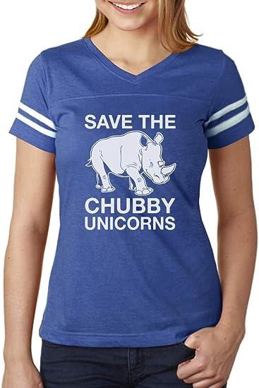 Tstars Save The Chubby Unicorns Rhino Funny V-Neck Fitted Women T-Shirt
