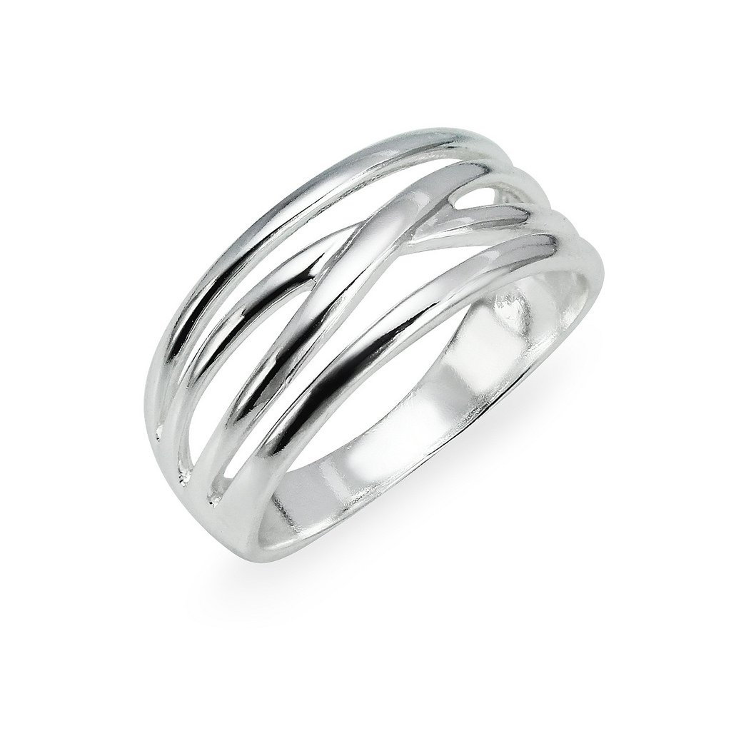 Sterling Silver Multi Bands Ring For Women Size 9