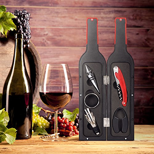 Wine Accessories Gift Set - 5 Pcs Deluxe Wine Corkscrew Opener Sets Bottle Shape in Elegant Gift Box, Great Wine Gifts Idea for Wine Lovers, Friends, Anniversary by Friend of Vines (Image #5)