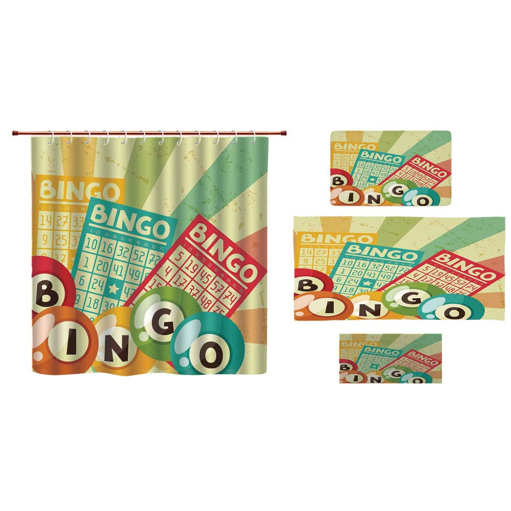 iPrint Bathroom 4 Piece Set Shower Curtain Floor mat Bath Towel Fashion,Vintage Decor,Bingo Game with Ball and Cards Pop Art Stylized Lottery Hobby Celebration Theme,Multi,Custom Design.