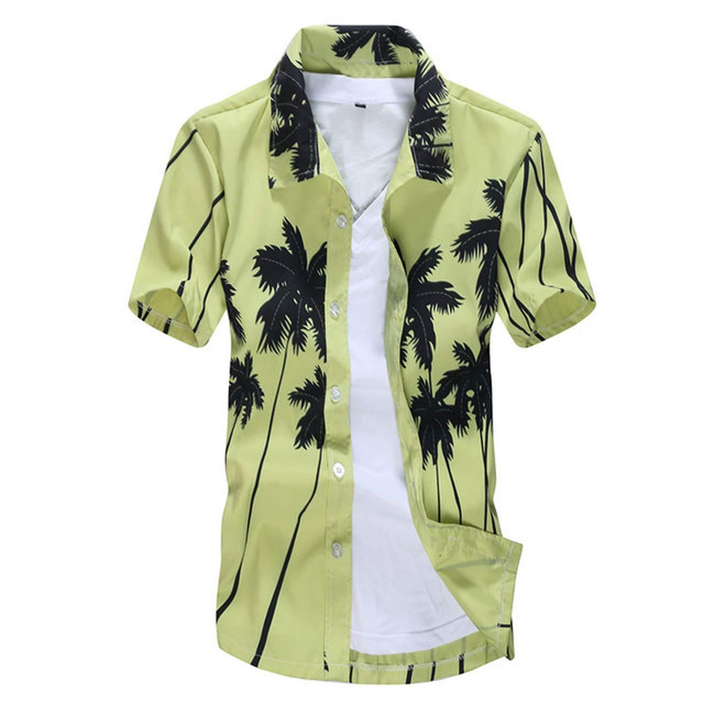 Mens Hawaiian Shirt Casual Camisa Beach Shirts Short Sleeve,Picture Color,XL