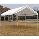 "KdGarden 10 x 20 ft. Carport Car Canopy Portable Garage Shelter for Auto and Boat Storage, Outdoor Parties and BBQ, Heavy Duty 1-1/2"" 6-Leg All Steel Frame with Water Resistant UV-Treated Cover, White"