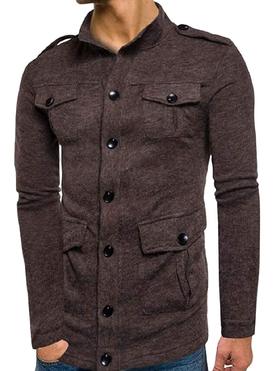FLCH+YIGE Mens Multi-Pockets Hipster Slim Fit Single Breasted Knitting Cardigan Sweaters