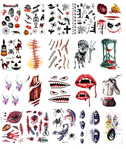 Body Scar Tattoo Temporary Stickers for Cos Play Holiday Partys or Halloween Makeup Kit, 20pcs Assorted Patterns (Dreamy eyes)