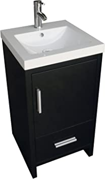 Amazon Com Walcut 18inch Black Bathroom Vanity Mdf Wood Cabinet Resin Counter Top Vessel Sink Set With Faucet And Pop Up Drain Furniture Decor