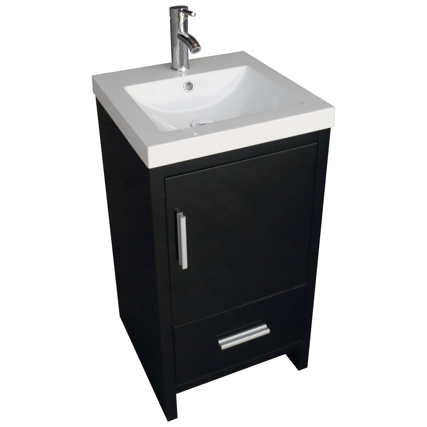 Amazon com walcut 18inch black bathroom vanity mdf wood cabinet resin counter top vessel sink set with faucet and pop up drain kitchen dining