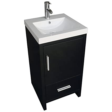 . WALCUT 18inch Black Bathroom Vanity MDF Wood Cabinet Resin Counter Top  Vessel Sink Set with Faucet and Pop Up Drain