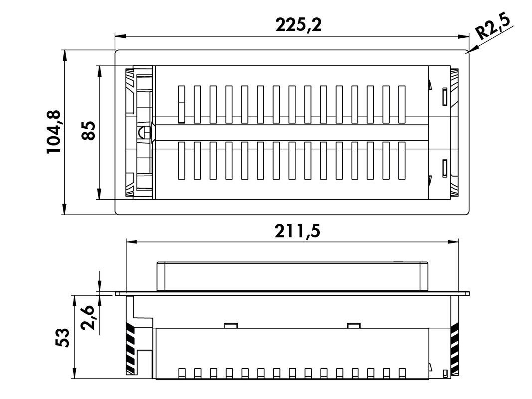 549177 Prise encastrable Back Flip 215/x 88/mm repliable 2/prises 1/Chargeur USB