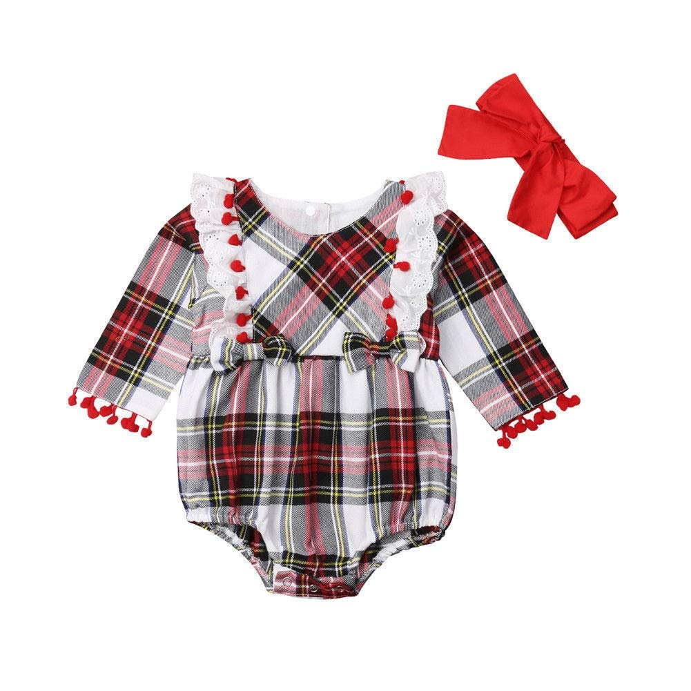 HUHUXXYY Newborn Baby Romper Cotton Toddler Infant Baby Girls Fashion Plaid Print Tassel Jumpsuit Bodysuit+Headband Girls Daily Outfits Color : Red, Size : 100Y