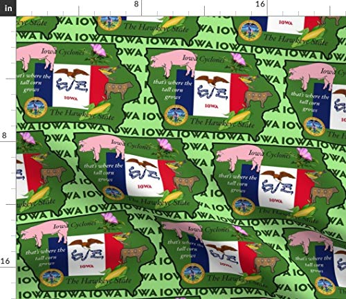 Spoonflower Iowa Fabric - Hawkeyes States Flag Pigs Rural Corn by Dogdaze Printed on Petal Signature Cotton Fabric by The Yard
