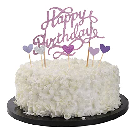 Amazon Sunny ZX Happy Birthday Cake Topper First Cupcake Glitter Decoration Home Improvement