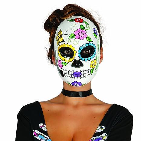 Maschera della morte messicana Camuffamento viso Sugar Skull motivo donna -  Maschera di halloween La Catrina ee76239ddbd