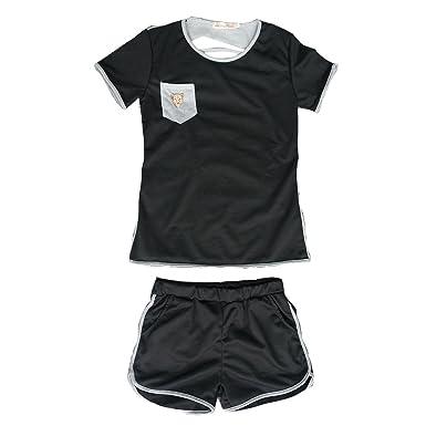 Juleya Chándal Mujer Verano Conjunto de Deportes Cortos Pantalones ...