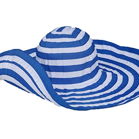 ffa3082e283 Image Unavailable. Image not available for. Color  PANDA SUPERSTORE Blue  Color Beach Hat Sun Hat Wide Brim Foldable Cap for Lady Girls
