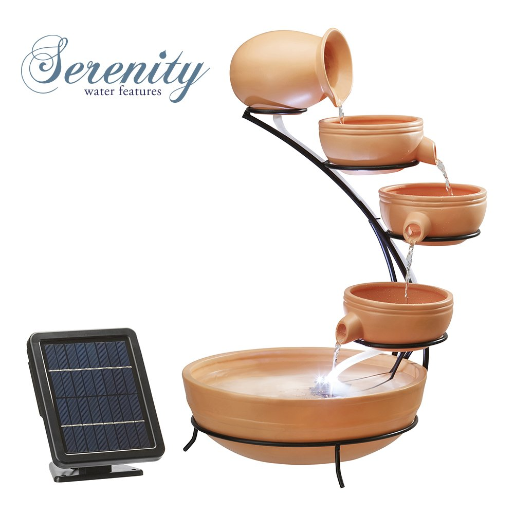 Durable 5 Solar Powered Cascade Water Feature with LED Lights for Outdoor Use (Terracotta Effect) Clifford James