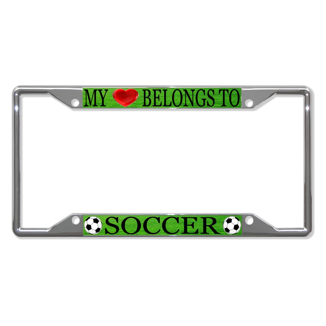 Soccer Balls Auto Car License Plate Frame Tag Holder 4 Hole