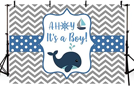 9x6ft Boy Newborn Baby Shower Backdrop Marine Baby Whale Vinyl Photography Backgroud Babys 1st Birthday Newborn Welcome Party Blue Sea Ocean Colorful Buntings Backgrouds