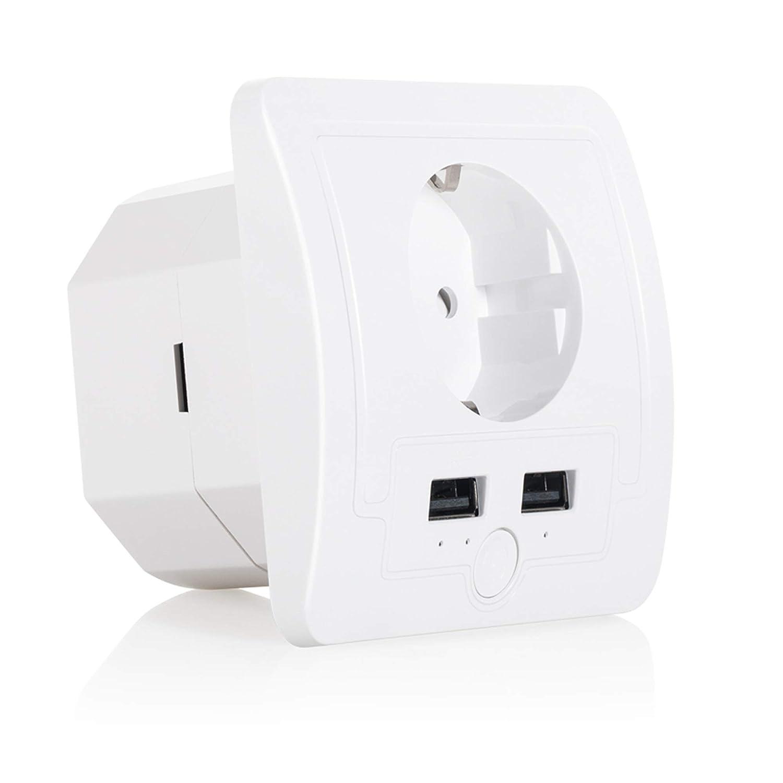 MEHRWEG Kompatibel mit Alexa und Google Home kein Hub erforderlich 2 USB App Fernbedienung Timing-Funktion Jinvoo Intelligente Steckdosenleiste WiFi /Überspannungsschutz EU mit 4 AC-Ausg/ängen