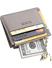 Slim Leather Card Case Holder Front Pocket Wallet Change Purse for Women Girls keychain