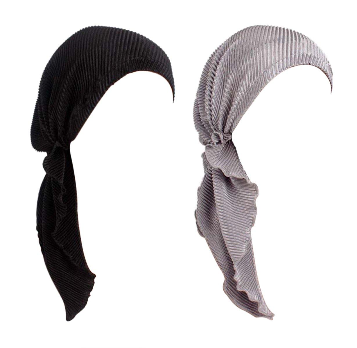 DancMolly Bandana Scarf Pre Tied Chemo Turban Elastic Beanies Hat Summer Headwear for Cancer (Ruffle-Black+Gray)