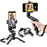 zeadio Ergonomic Swivel Smartphone Handheld Grip Stabilizer Tripod Selfie Stick Handle Steadycam Kits with Bluetooth Shutter Remote
