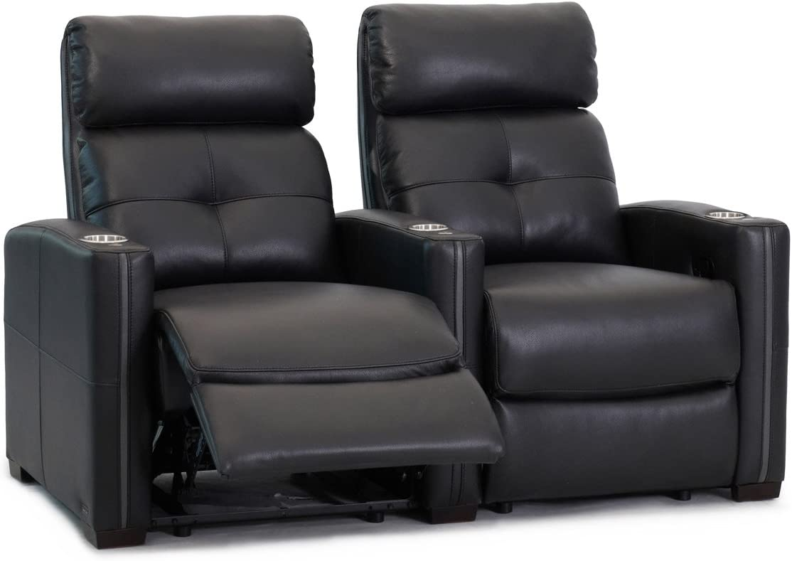 Home Theatre Chairs Straight Row of 2 Seats Cloud XS850 Manual Recline Octane Seating Black Top Grain Leather Space Saving Design
