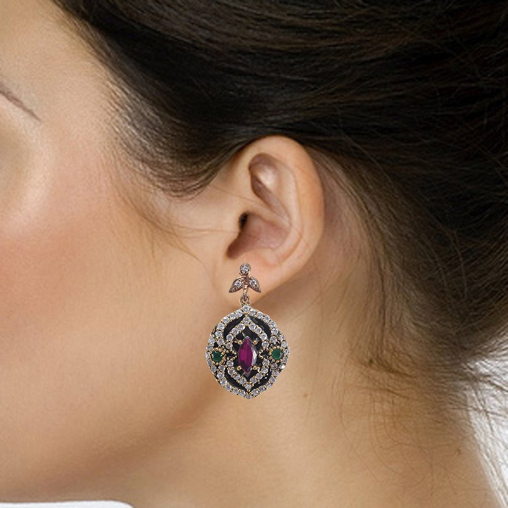 Lab Ruby /& Topaz Silvestoo Jaipur Emerald 925 Sterling Silver With Bronze Earring PG-104508