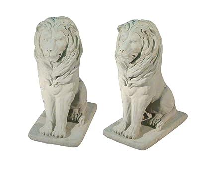 Pack Of 2 Regal Sitting Lion Cast Stone Concrete Outdoor Garden Statues