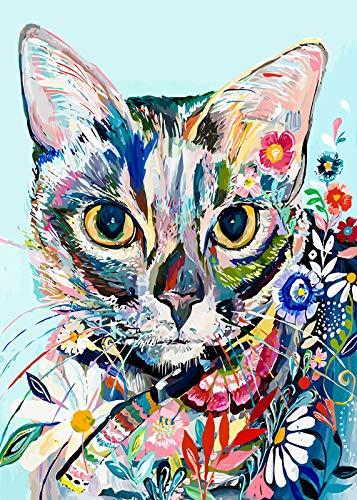 """Colorful Cat (Diamond Painting Kits for Adults, 5D DIY Full Drill Crystal Embroidery Cross Stitch Arts Craft for Wall Decor, Colorful Cat (11.8""""x15.7""""))"""