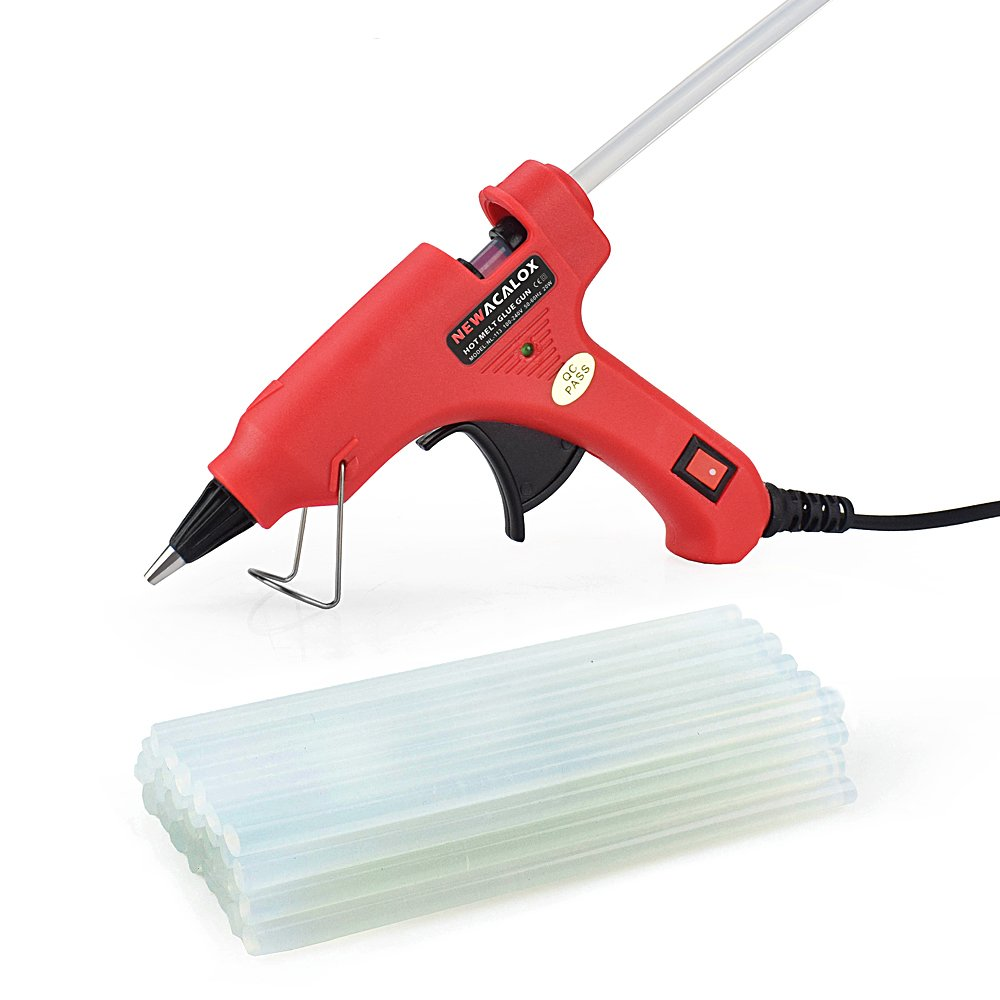 Mini Hot Melt Glue Gun Kit with 30pcs Glue Sticks,Holding Stand and Scald-Proof Rubber Nozzle (20 Watts, Red) NEWACALOX NEWACALOX factory 113US-R20