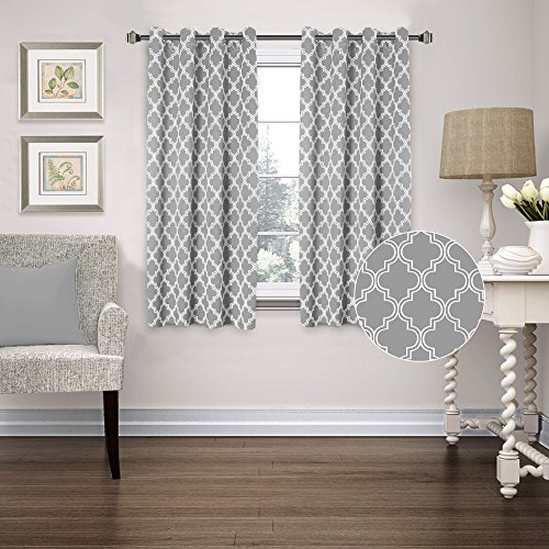 Elegant FlamingoP Room Darkening Moroccan Tile Quatrefoil Blackout Top Grommet  Unlined Thermal Insulated Window Curtains, Set Of Two Panels, Each 63 By  52, Gray