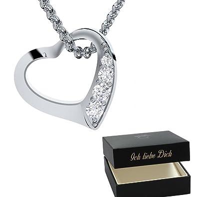 Herzkette Silber 925 Damen Kette Mit SWAROVSKI Zirkonia ❤ ❤ Valentinstag  Geschenk Liebe