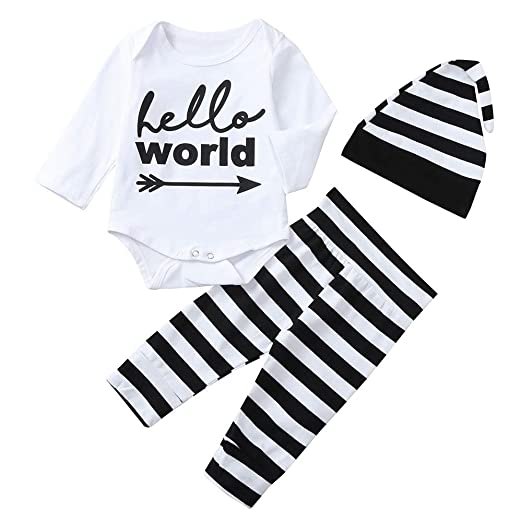Pumsun ❤ Toddler Baby Long Sleeves Letter Print Romper Clothes+Pants+Hat Set b165c03a7260