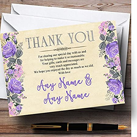 Vintage Purple /& Pink Watercolour Personalized Wedding Thank You Cards
