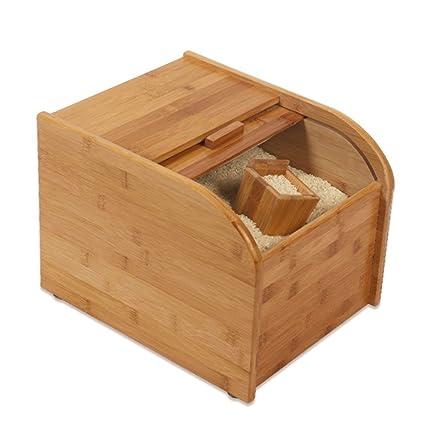 Dispensadores de cereales Contenedor de granos Almacene la caja de arroz Madera enlatada para alimentos Además