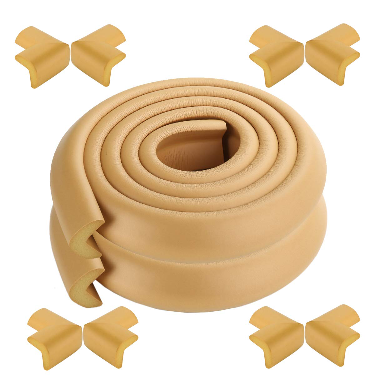 X-Loves 2 Meter L-Shape Edge Protector and 4 x Corner Guards Set, Easy to Install, Premium high Density Foam Baby Protective Household Tool for Table, Bench and Other Home Furniture - Colour Khaki Guju