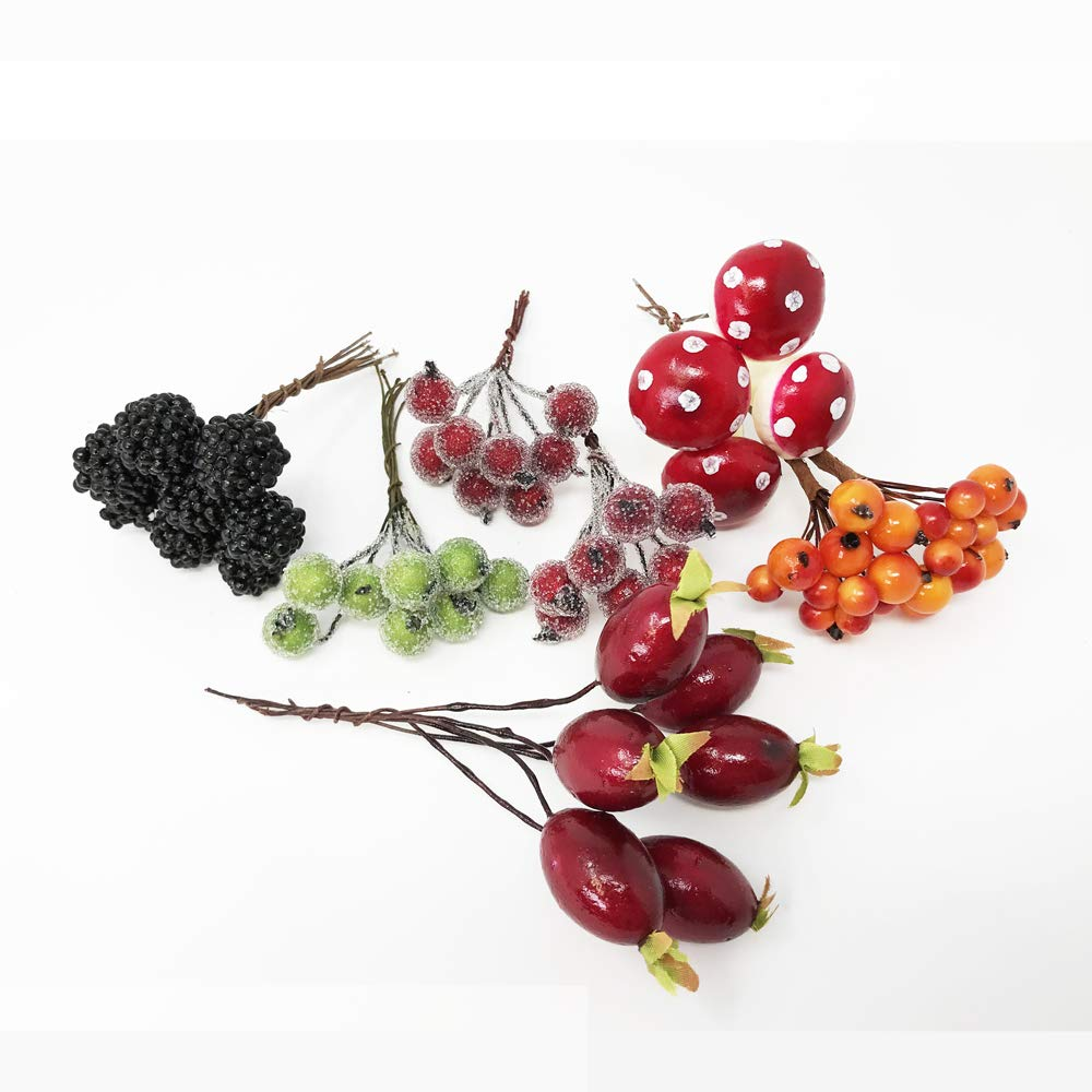FloristryWarehouse Mixed Autumn Fruit Picks Box Berry Rosehip Blackberry Mushroom 10-13cm