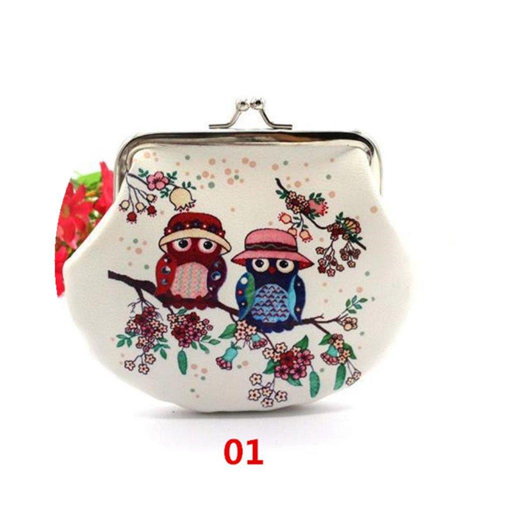 HP95(TM) Women Lady Girls Owl Small Wallet Vintage Hasp Purse Clutch Bag (A)