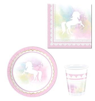52 Piezas Fiesta de vajilla Unicornio – Believe – Niños de cumpleaños – Platos, vasos y servilletas para 16 personas
