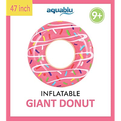 aquablu Inflatable Inner Tube Cool Summer Swim Ring & Lounge Float for Pool Beach Lake River & More 47 Diameter Pink Sprinkle Donut Design Perfect for Kids Teens & Adults Ages 9+: Toys & Games