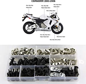 Xitomer Full Sets Fairing Bolts Kits, for Honda CBR600RR F5 2003 2004 2005 2006, Mounting Kits Washers/Nuts/Fastenings/Clips/Grommets (Silver)